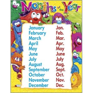 Educational Month and Year Charts