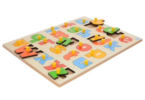 English Alphabet Tray With Knob - Wooden Educational Equipment